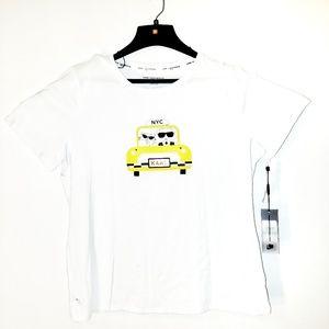 Karl Lagerfeld Women's Large Embroider White Shirt